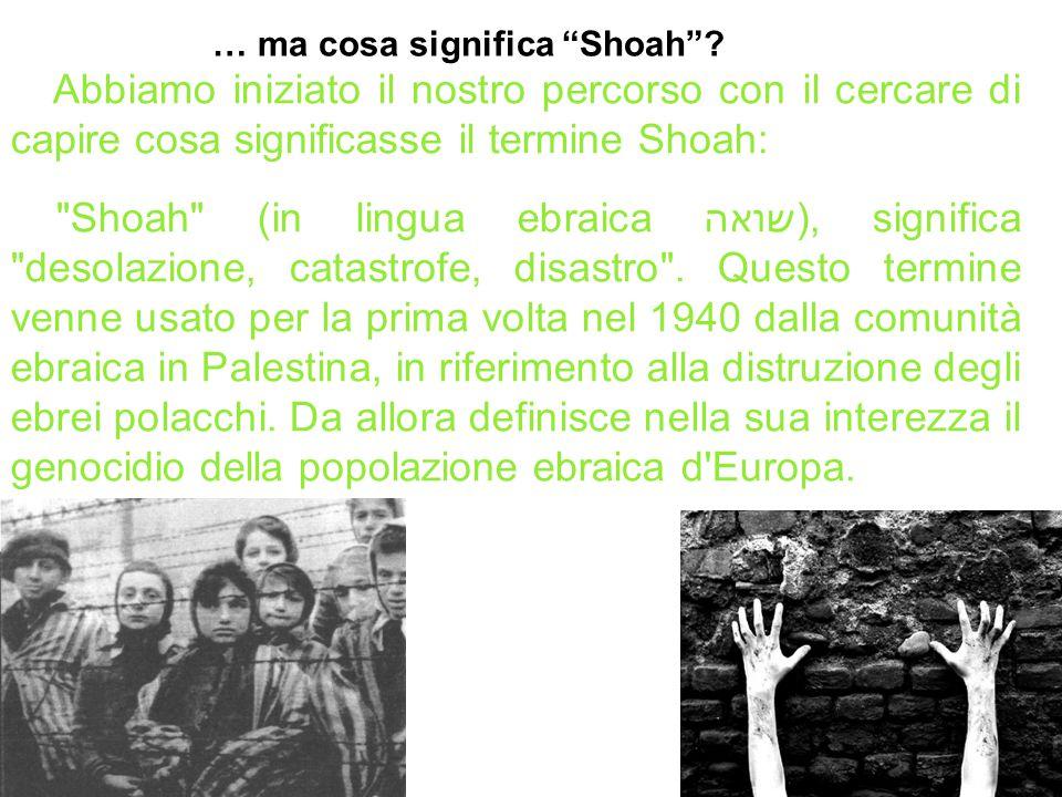 Abbiamo iniziato il nostro percorso con il cercare di capire cosa significasse il termine Shoah: