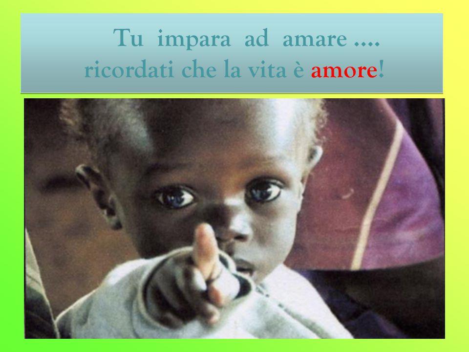 Tu impara ad amare …. ricordati che la vita è amore! Tu impara ad amare …. ricordati che la vita è amore!