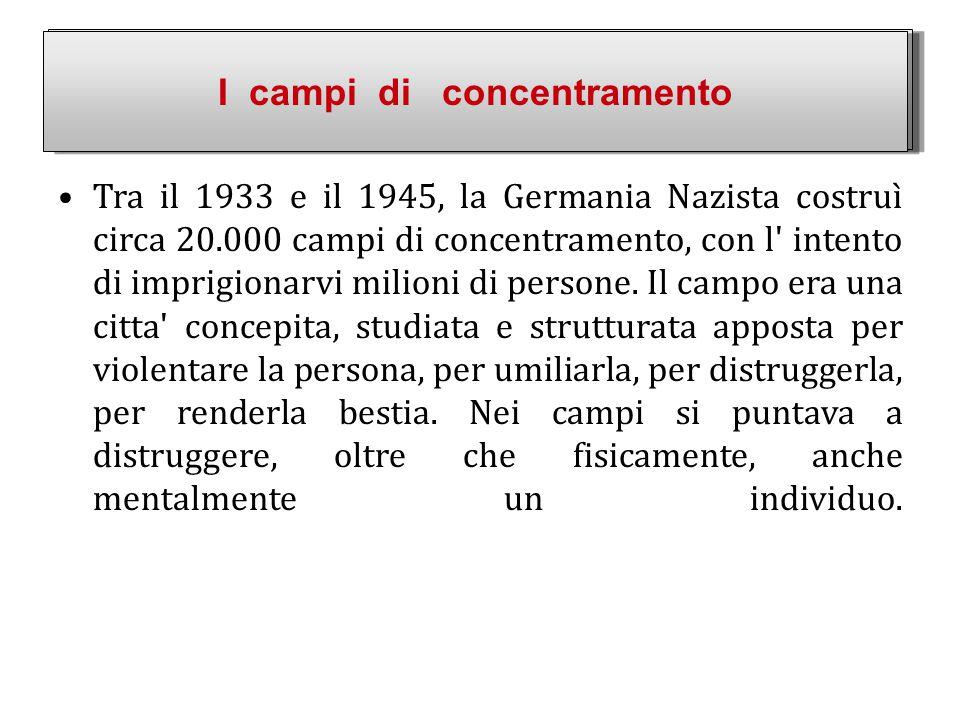 Tra il 1933 e il 1945, la Germania Nazista costruì circa 20.000 campi di concentramento, con l' intento di imprigionarvi milioni di persone. Il campo