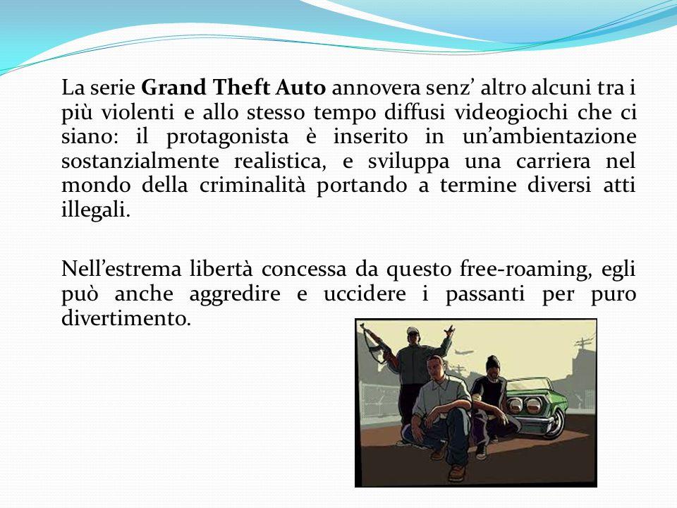 La serie Grand Theft Auto annovera senz' altro alcuni tra i più violenti e allo stesso tempo diffusi videogiochi che ci siano: il protagonista è inserito in un'ambientazione sostanzialmente realistica, e sviluppa una carriera nel mondo della criminalità portando a termine diversi atti illegali.