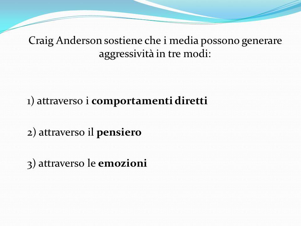 Craig Anderson sostiene che i media possono generare aggressività in tre modi: 1) attraverso i comportamenti diretti 2) attraverso il pensiero 3) attraverso le emozioni