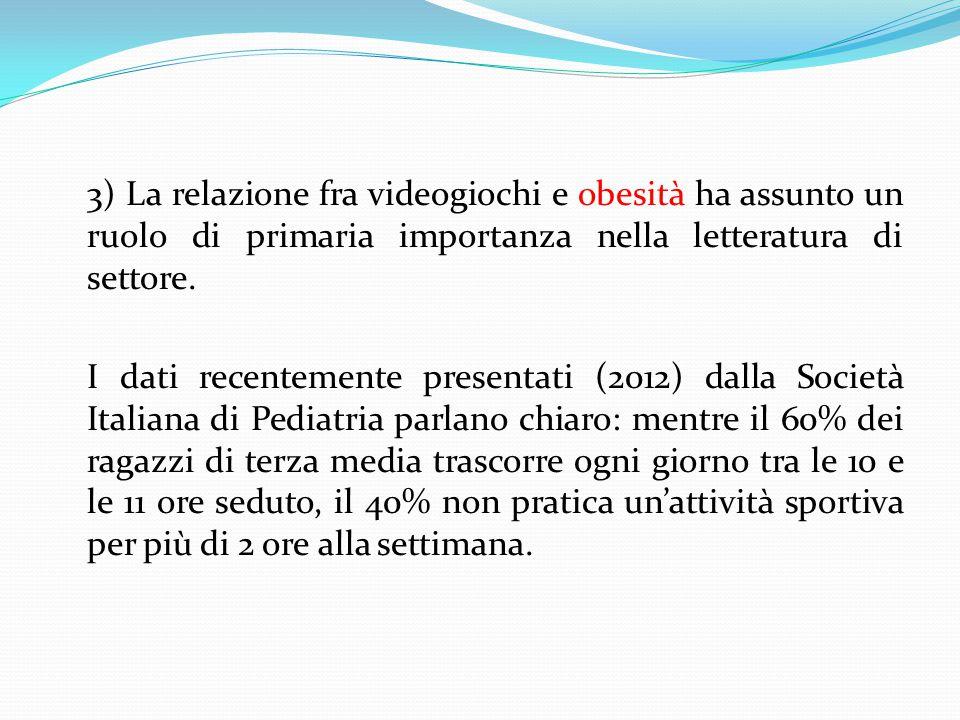 3) La relazione fra videogiochi e obesità ha assunto un ruolo di primaria importanza nella letteratura di settore.