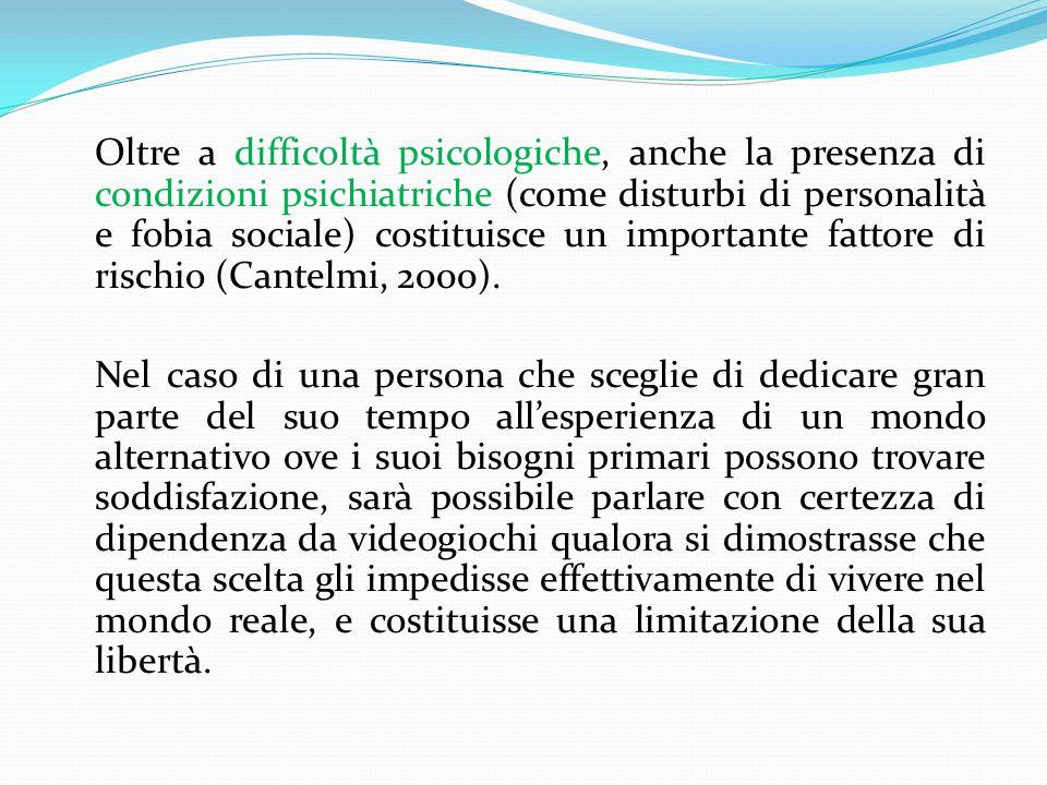 Oltre a difficoltà psicologiche, anche la presenza di condizioni psichiatriche (come disturbi di personalità e fobia sociale) costituisce un importante fattore di rischio (Cantelmi, 2000).