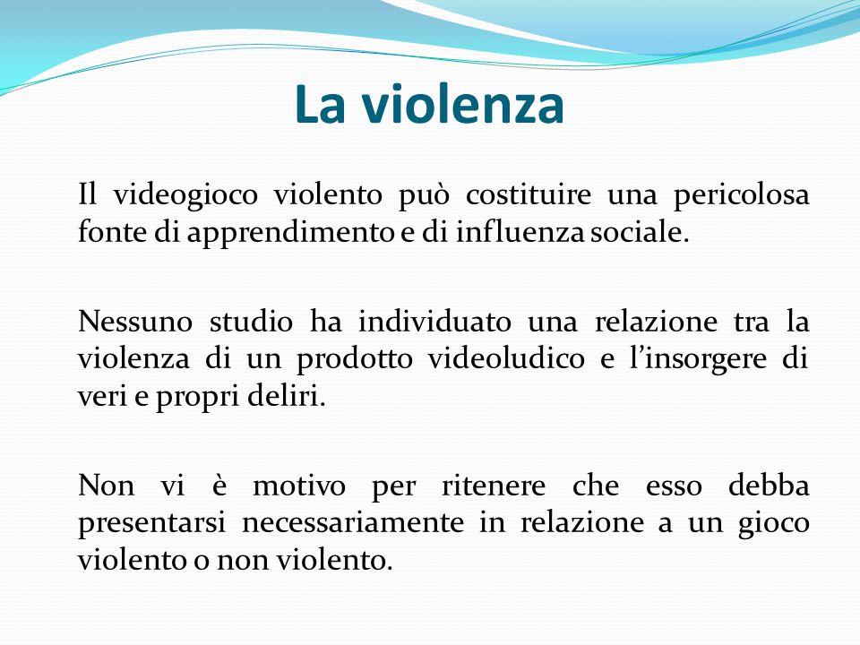 La violenza Il videogioco violento può costituire una pericolosa fonte di apprendimento e di influenza sociale.