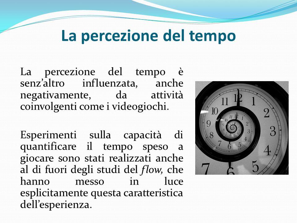 La percezione del tempo La percezione del tempo è senz'altro influenzata, anche negativamente, da attività coinvolgenti come i videogiochi.