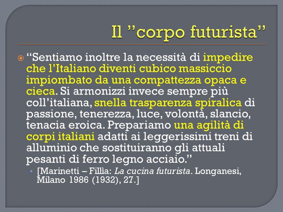  Sentiamo inoltre la necessità di impedire che l'Italiano diventi cubico massiccio impiombato da una compattezza opaca e cieca.