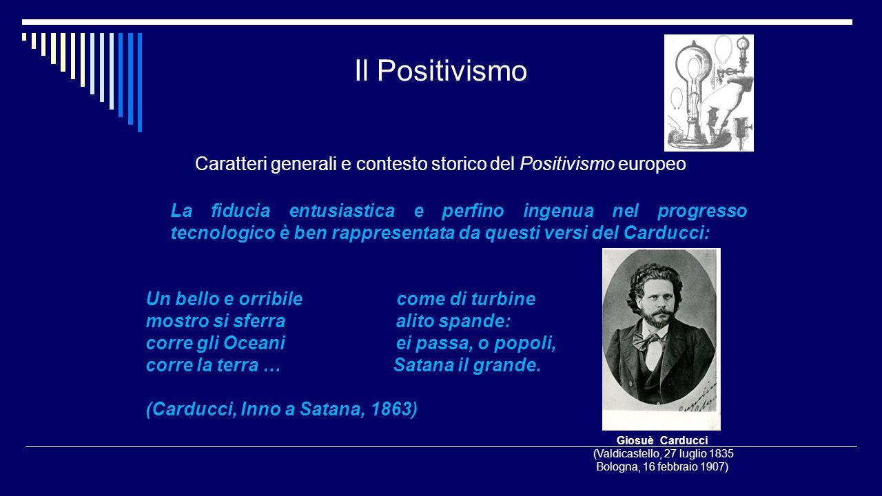 Il Positivismo Caratteri generali e contesto storico del Positivismo europeo La fiducia entusiastica e perfino ingenua nel progresso tecnologico è ben