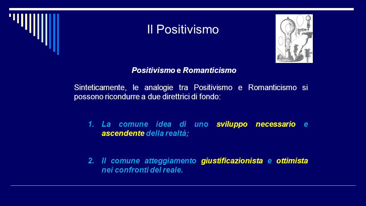 Il Positivismo Positivismo e Romanticismo Sinteticamente, le analogie tra Positivismo e Romanticismo si possono ricondurre a due direttrici di fondo: