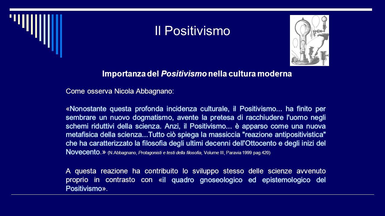 Il Positivismo Importanza del Positivismo nella cultura moderna