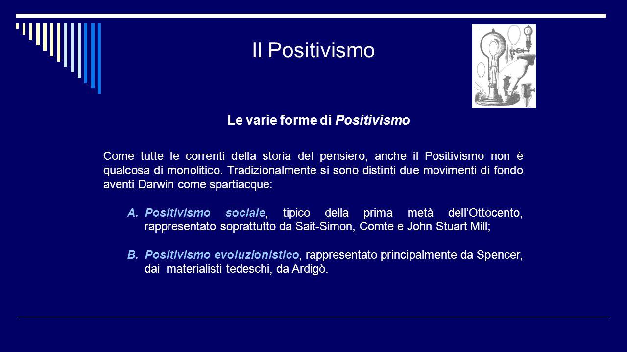 Il Positivismo Le varie forme di Positivismo Come tutte le correnti della storia del pensiero, anche il Positivismo non è qualcosa di monolitico. Trad