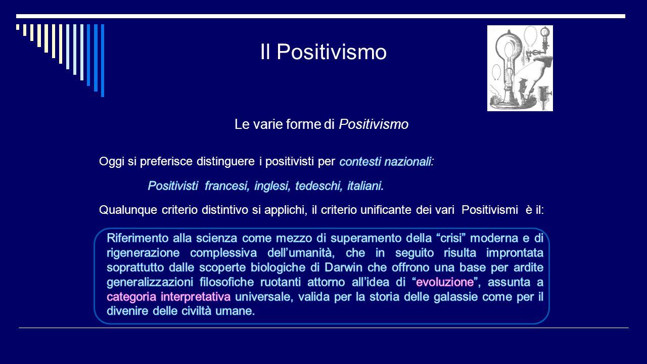 Il Positivismo Le varie forme di Positivismo