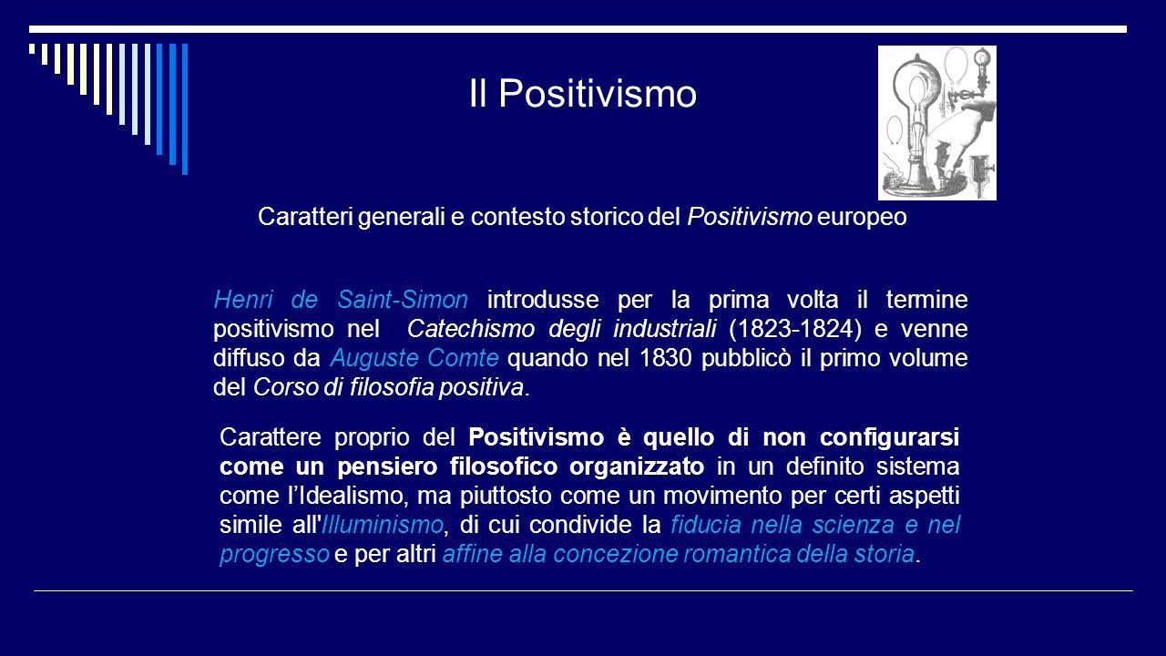 Il Positivismo Caratteri generali e contesto storico del Positivismo europeo Henri de Saint-Simon introdusse per la prima volta il termine positivismo