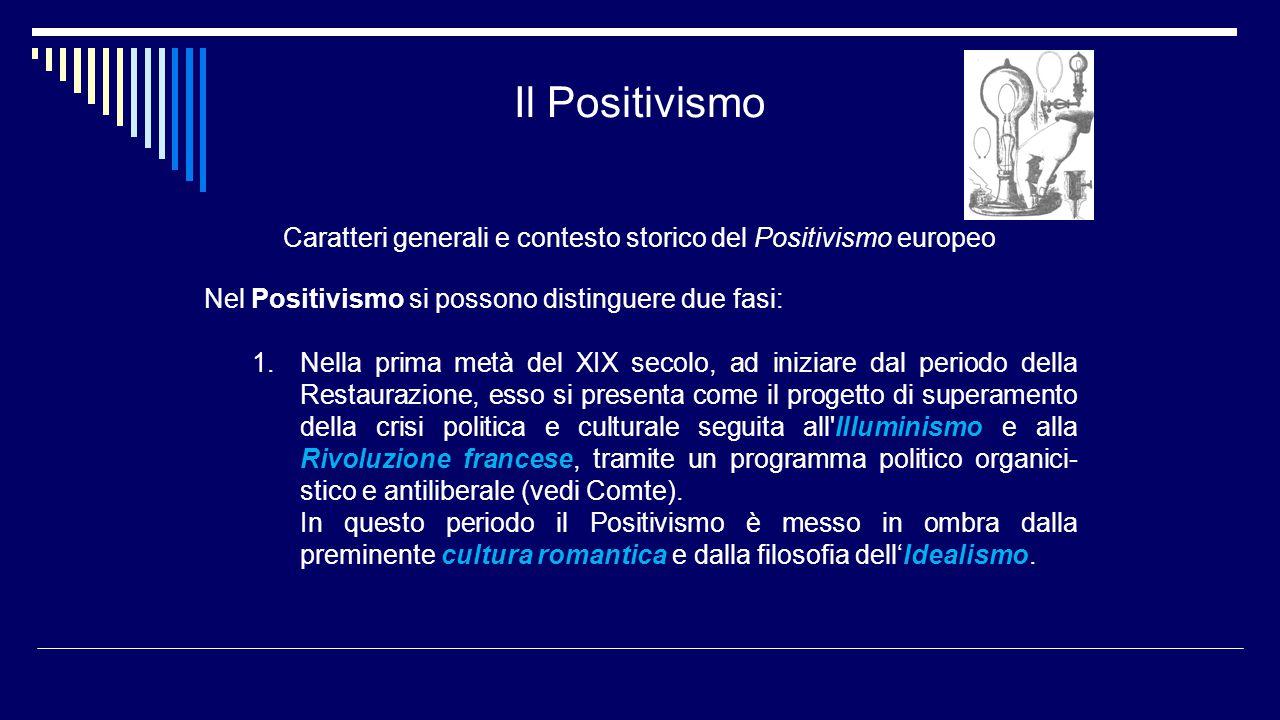 Il Positivismo Caratteri generali e contesto storico del Positivismo europeo Nel Positivismo si possono distinguere due fasi: 1.Nella prima metà del X
