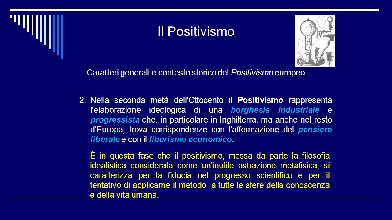 Il Positivismo Caratteri generali e contesto storico del Positivismo europeo 2.Nella seconda metà dell'Ottocento il Positivismo rappresenta l'elaboraz