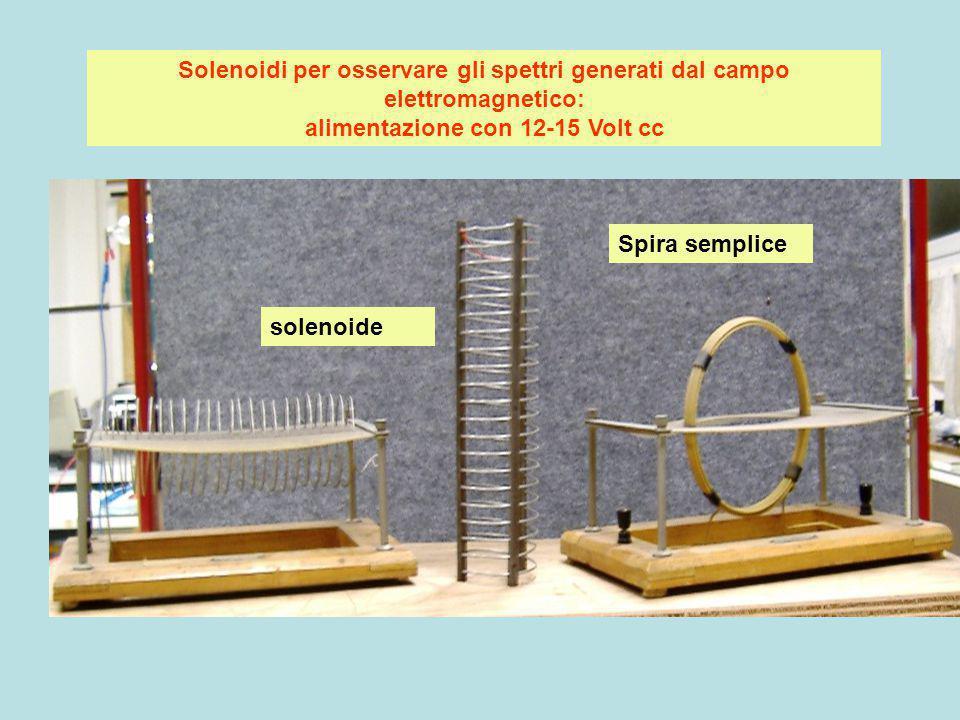 Solenoidi per osservare gli spettri generati dal campo elettromagnetico: alimentazione con 12-15 Volt cc solenoide Spira semplice