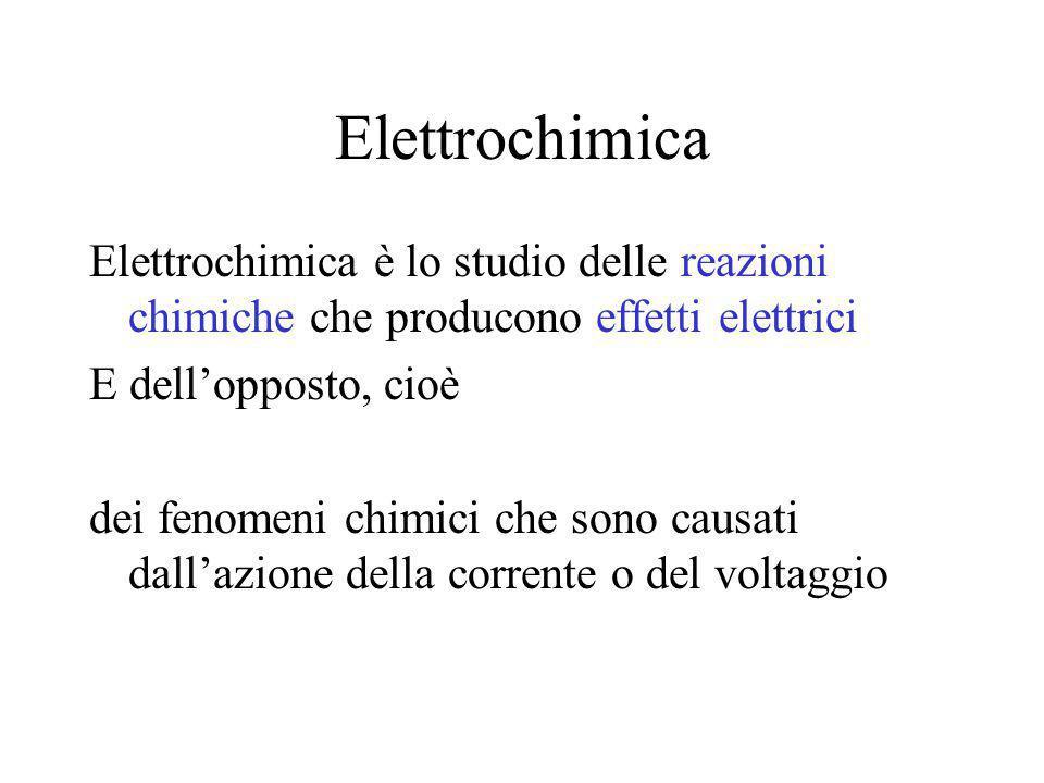 Elettrochimica Elettrochimica è lo studio delle reazioni chimiche che producono effetti elettrici E dell'opposto, cioè dei fenomeni chimici che sono causati dall'azione della corrente o del voltaggio