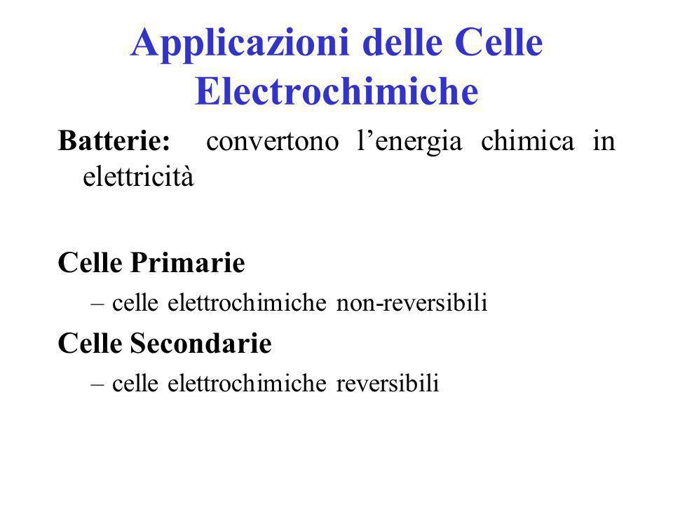 Energia libera di Gibbs e Potenziale di Cella Se la cella genera corrente (E) essa è spontanea (-  G)  G = - nFE doven => numero di elettroni scambiati F => constante di Faraday* E => potenziale di cella * F= 96485 Coulomb/mol