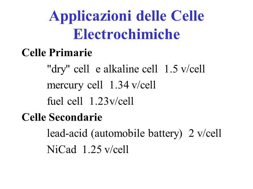 Applicazioni delle Celle Electrochimiche Batterie: convertono l'energia chimica in elettricità Celle Primarie –celle elettrochimiche non-reversibili Celle Secondarie –celle elettrochimiche reversibili