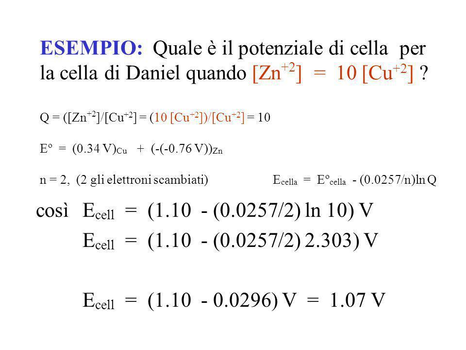 E = E 0 + RT ln [OX1] nF [RED1] Equazione di Nernst Convertendo il log naturale in decimale e quantificando le costanti, a 25 °C E = E 0 + 0.059 log [OX1] n [RED1] E = E 0 + 0.0257 ln [OX1] n [RED1] N.B.