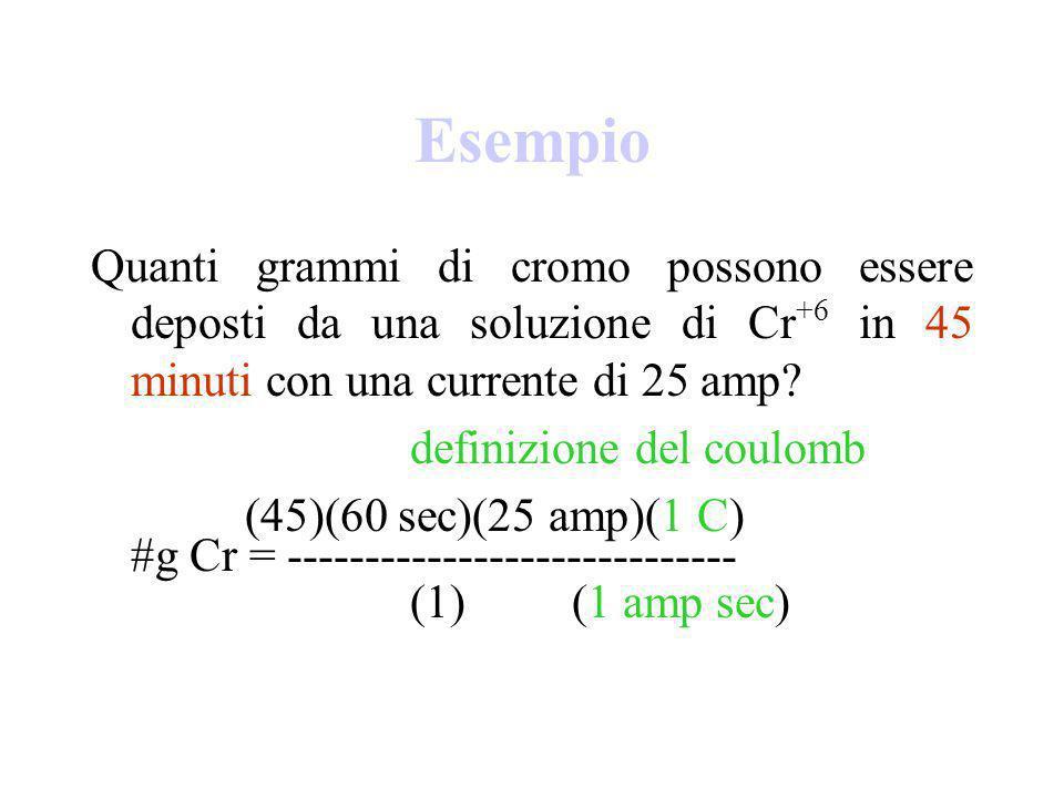 Esempio Quanti grammi di cromo possono essere deposti da una soluzione di Cr +6 in 45 minuti con una corrente di 25 amp.