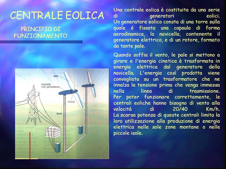 CENTRALE EOLICA PRINCIPIO DI FUNZIONAMENTO Una centrale eolica è costituita da una serie di generatori eolici.