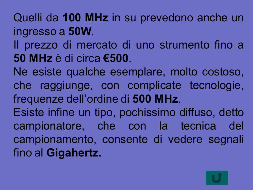 Quelli da 100 MHz in su prevedono anche un ingresso a 50W. Il prezzo di mercato di uno strumento fino a 50 MHz è di circa €500. Ne esiste qualche esem