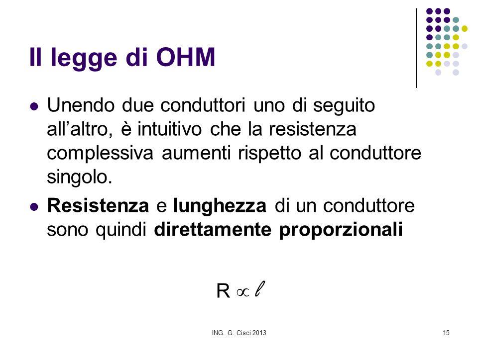 ING. G. Cisci 201315 II legge di OHM Unendo due conduttori uno di seguito all'altro, è intuitivo che la resistenza complessiva aumenti rispetto al con