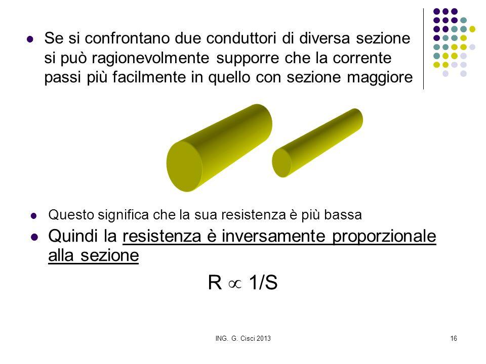 ING. G. Cisci 201316 Se si confrontano due conduttori di diversa sezione si può ragionevolmente supporre che la corrente passi più facilmente in quell