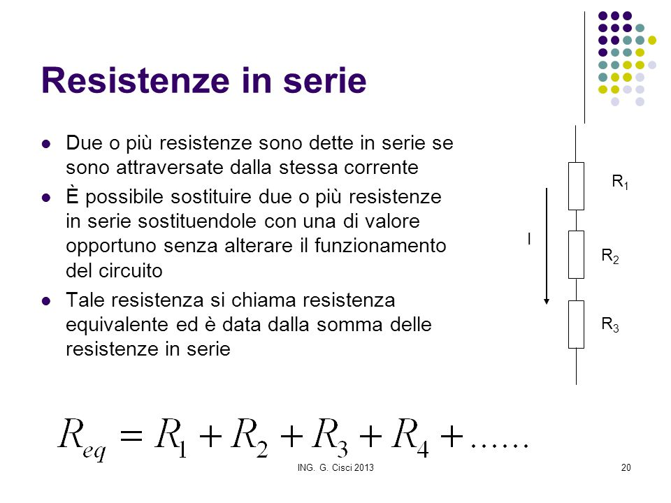 ING. G. Cisci 201320 Resistenze in serie Due o più resistenze sono dette in serie se sono attraversate dalla stessa corrente È possibile sostituire du