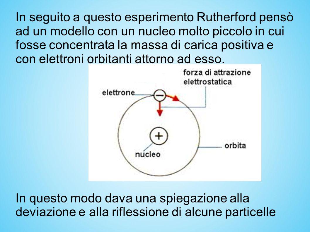 In seguito a questo esperimento Rutherford pensò ad un modello con un nucleo molto piccolo in cui fosse concentrata la massa di carica positiva e con