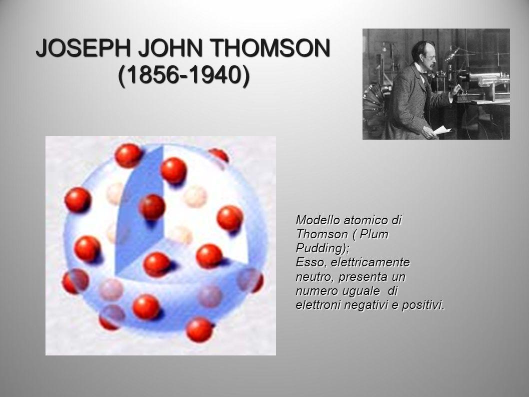 JOSEPH JOHN THOMSON (1856-1940) Modello atomico di Thomson ( Plum Pudding); Esso, elettricamente neutro, presenta un numero uguale di elettroni negati