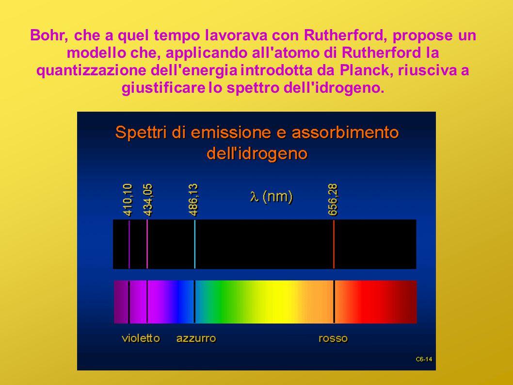 Bohr, che a quel tempo lavorava con Rutherford, propose un modello che, applicando all'atomo di Rutherford la quantizzazione dell'energia introdotta d