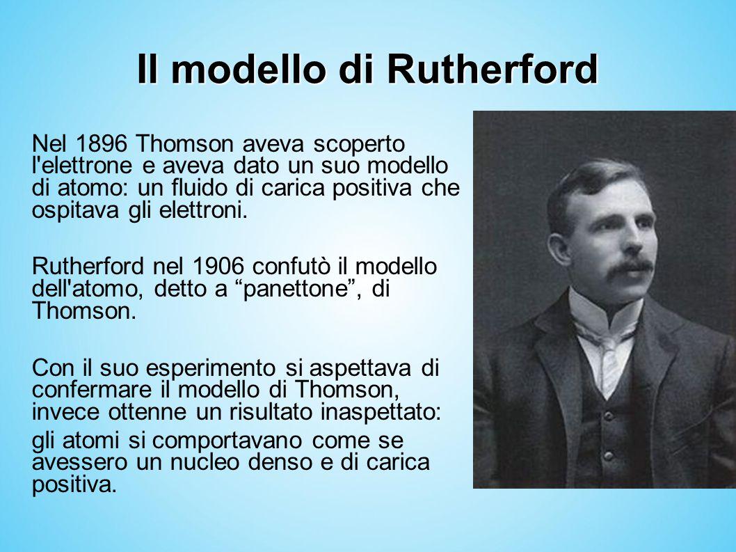 Il modello di Rutherford Nel 1896 Thomson aveva scoperto l'elettrone e aveva dato un suo modello di atomo: un fluido di carica positiva che ospitava g
