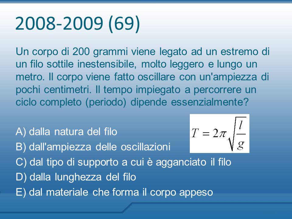 2008-2009 (69) Un corpo di 200 grammi viene legato ad un estremo di un filo sottile inestensibile, molto leggero e lungo un metro. Il corpo viene fatt