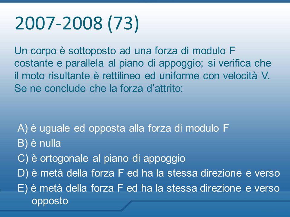 2007-2008 (73) Un corpo è sottoposto ad una forza di modulo F costante e parallela al piano di appoggio; si verifica che il moto risultante è rettilin