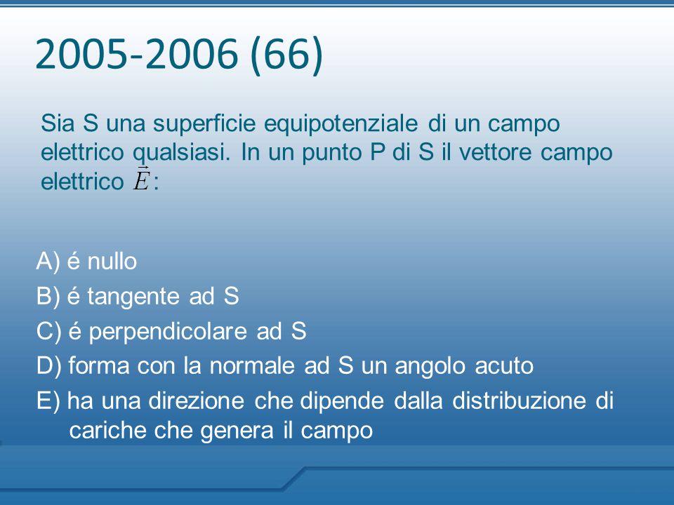 2005-2006 (66) Sia S una superficie equipotenziale di un campo elettrico qualsiasi. In un punto P di S il vettore campo elettrico : A) é nullo B) é ta