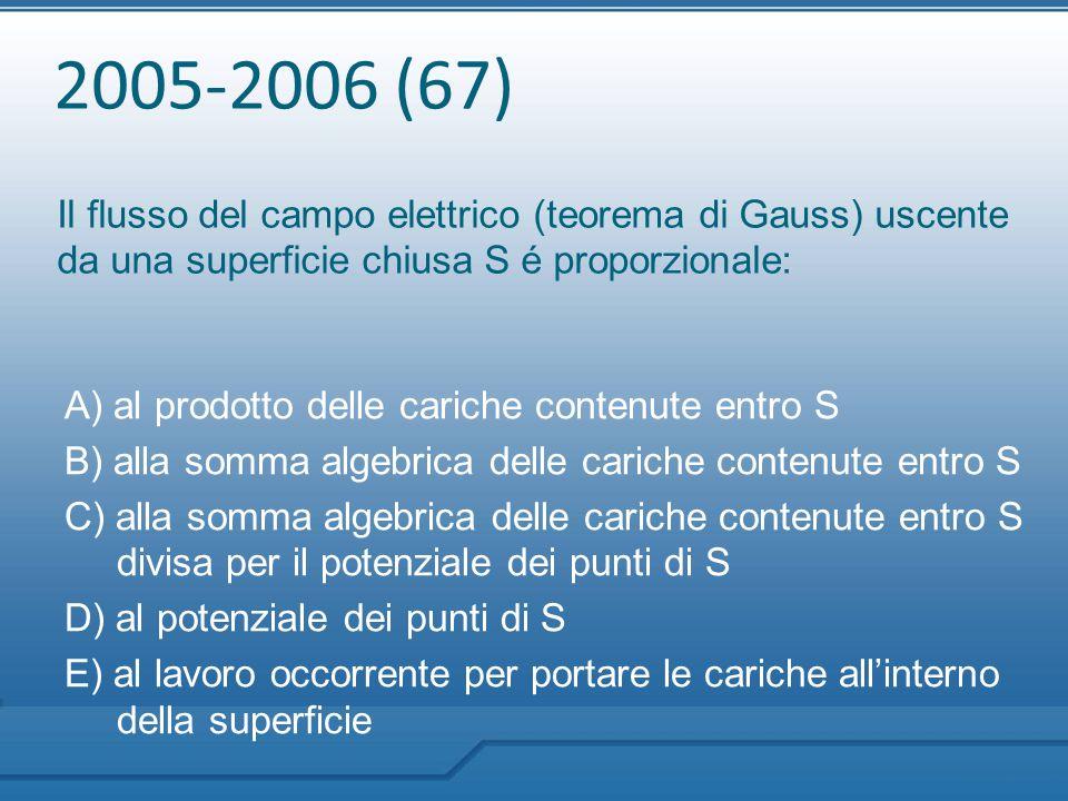 2005-2006 (67) Il flusso del campo elettrico (teorema di Gauss) uscente da una superficie chiusa S é proporzionale: A) al prodotto delle cariche conte