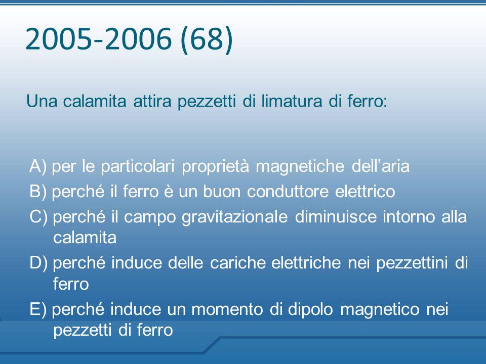 2005-2006 (68) Una calamita attira pezzetti di limatura di ferro: A) per le particolari proprietà magnetiche dell'aria B) perché il ferro è un buon co