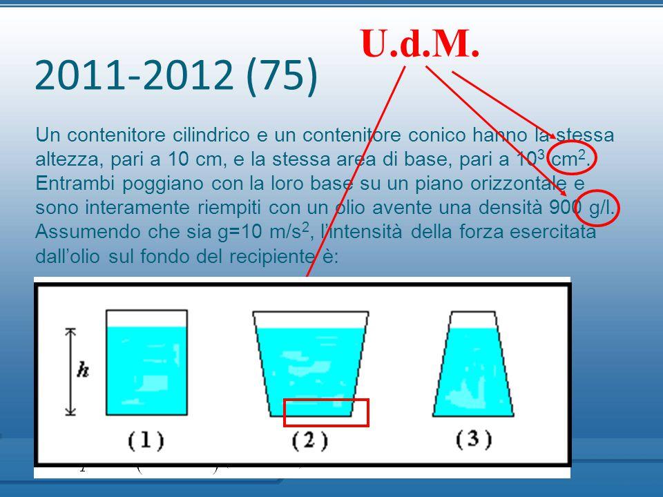 2011-2012 (75) Un contenitore cilindrico e un contenitore conico hanno la stessa altezza, pari a 10 cm, e la stessa area di base, pari a 10 3 cm 2. En
