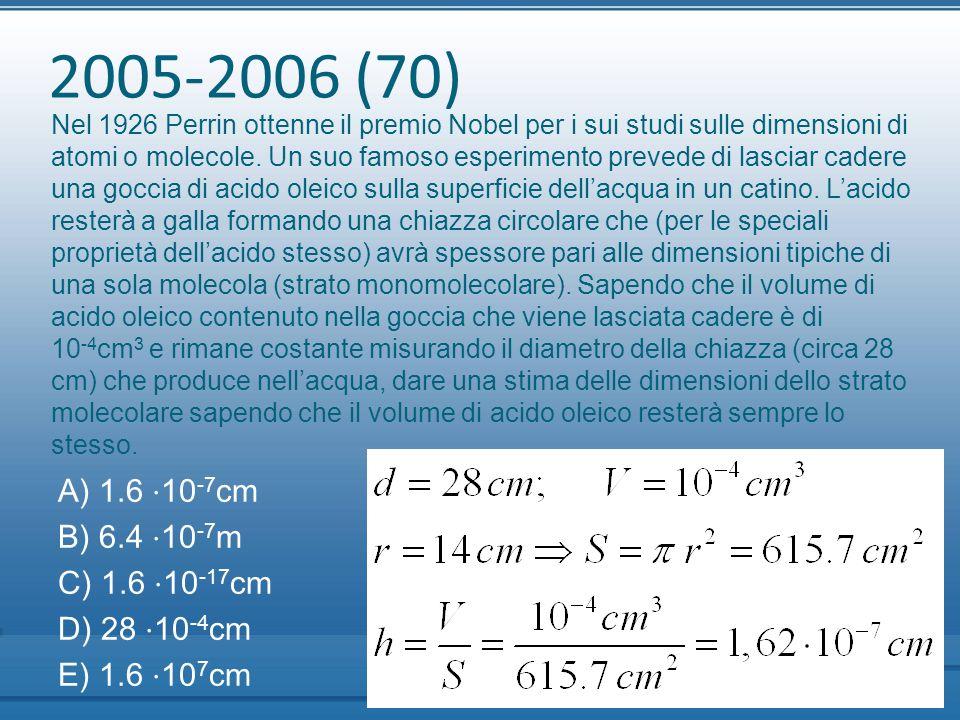 2005-2006 (70) Nel 1926 Perrin ottenne il premio Nobel per i sui studi sulle dimensioni di atomi o molecole. Un suo famoso esperimento prevede di lasc