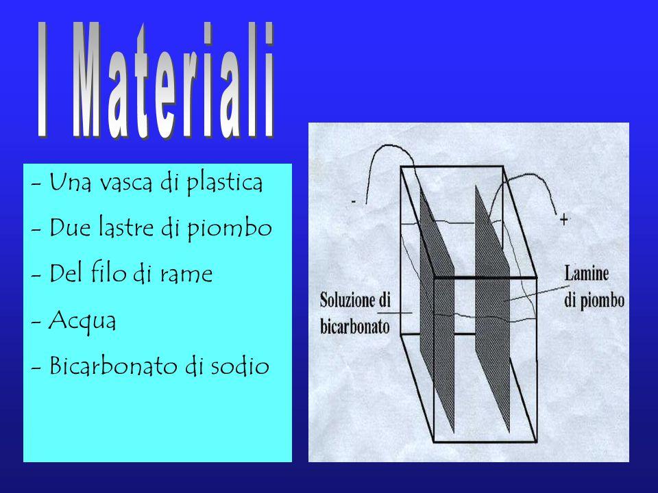 - Una vasca di plastica - Due lastre di piombo el filo di rame - Acqua - Bicarbonato di sodio