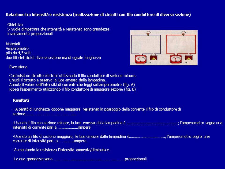 Relazione tra intensità e resistenza (realizzazione di circuiti con filo conduttore di diversa sezione) Obiettivo Si vuole dimostrare che intensità e