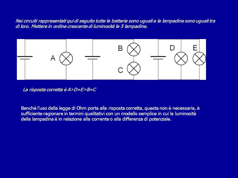 La risposta corretta è A>D=E>B=C Benchè l'uso della legge di Ohm porta alla risposta corretta, questa non è necessaria, è sufficiente ragionare in ter