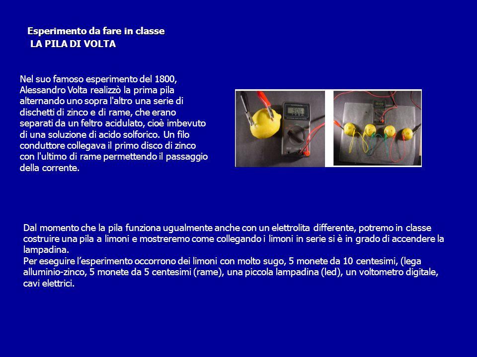 Esperimento da fare in classe LA PILA DI VOLTA LA PILA DI VOLTA Nel suo famoso esperimento del 1800, Alessandro Volta realizzò la prima pila alternand