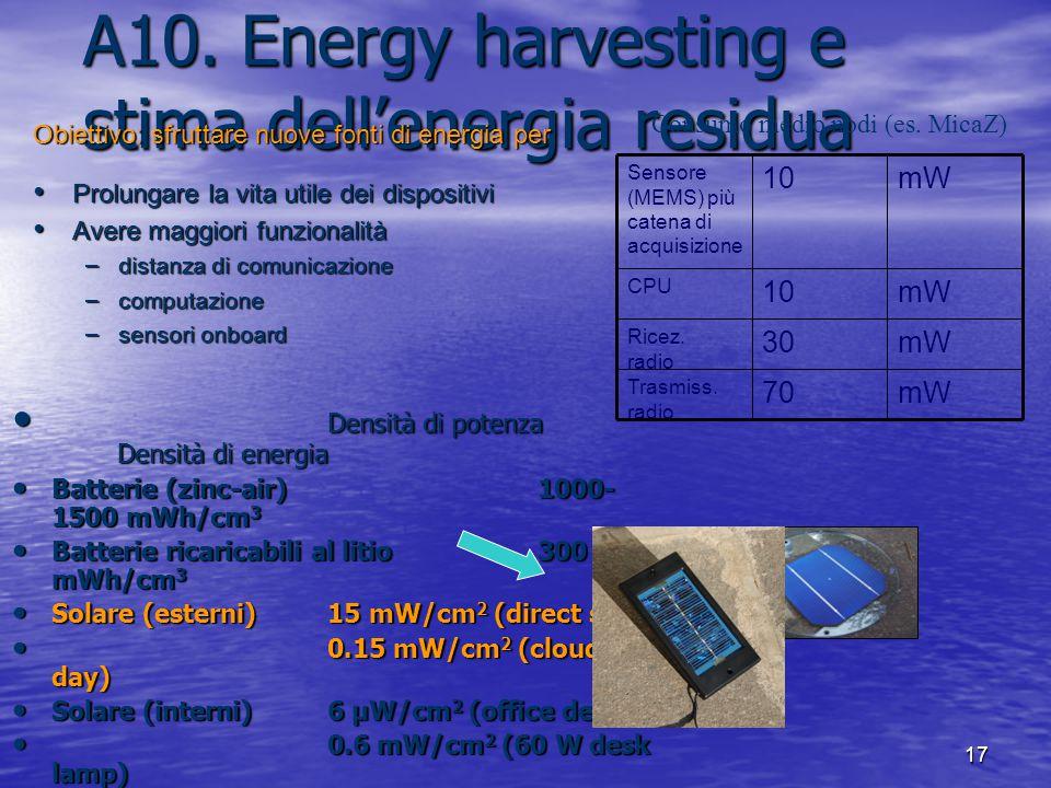 17 A10. Energy harvesting e stima dell'energia residua Obiettivo: sfruttare nuove fonti di energia per Prolungare la vita utile dei dispositivi Prolun