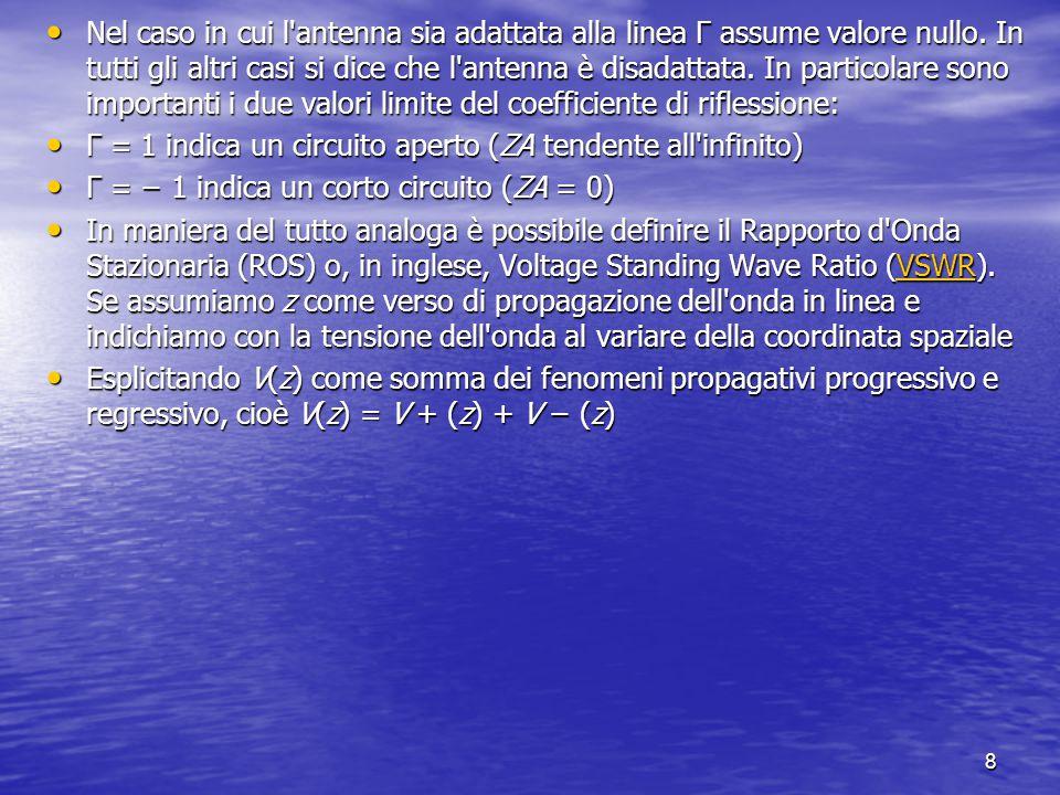8 Nel caso in cui l'antenna sia adattata alla linea Γ assume valore nullo. In tutti gli altri casi si dice che l'antenna è disadattata. In particolare