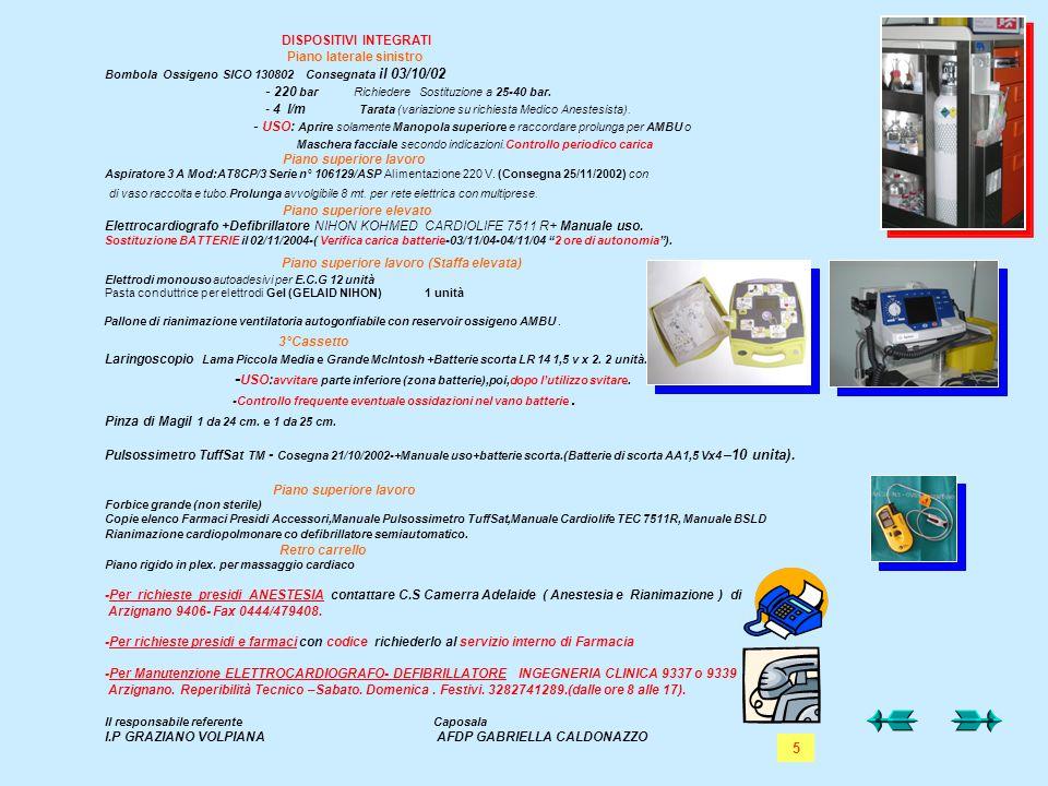 DISPOSITIVI INTEGRATI Piano laterale sinistro Bombola Ossigeno SICO 130802 Consegnata il 03/10/02 - 220 bar Richiedere Sostituzione a 25-40 bar. - 4 l