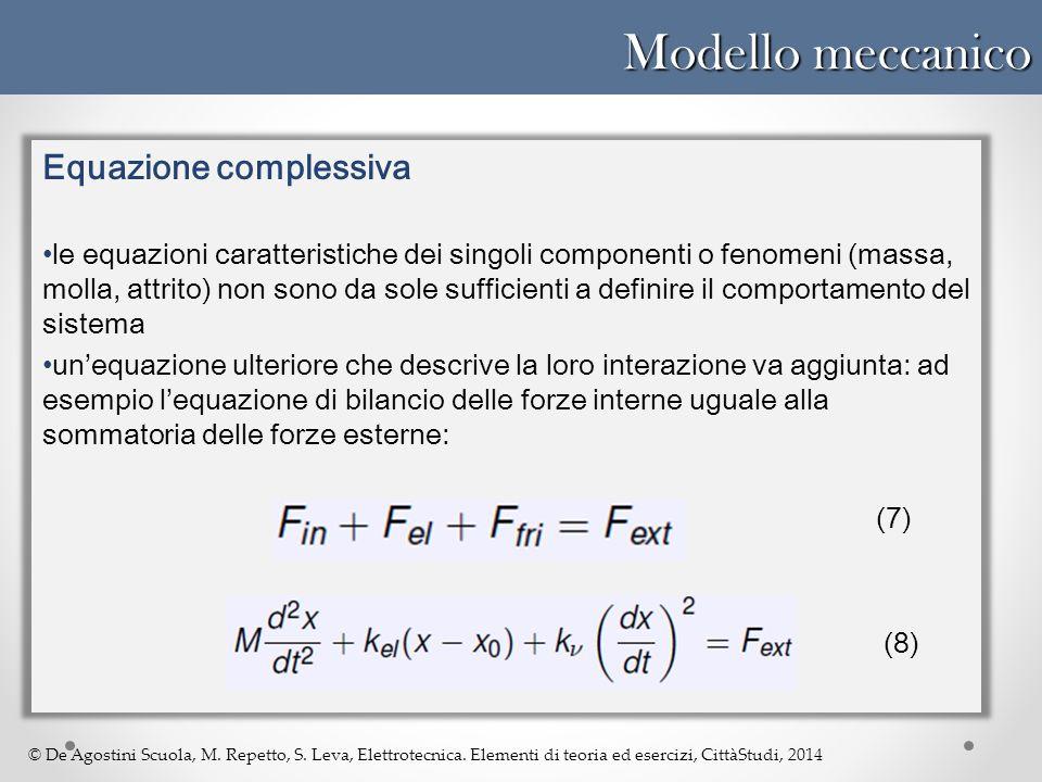 © De Agostini Scuola, M. Repetto, S. Leva, Elettrotecnica. Elementi di teoria ed esercizi, CittàStudi, 2014 Modello meccanico Equazione complessiva le