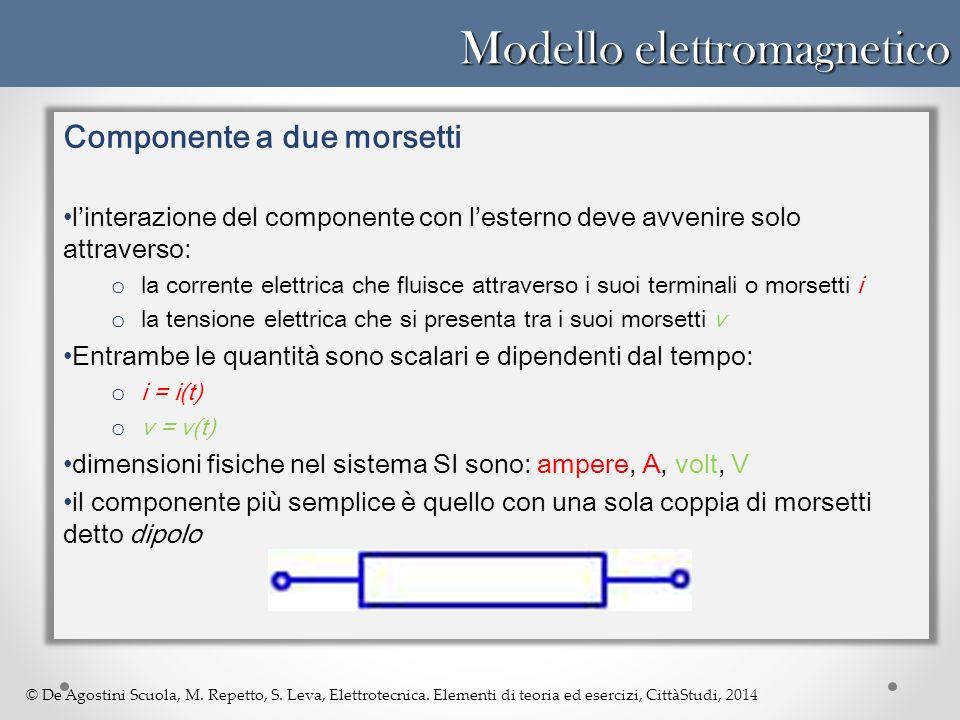 © De Agostini Scuola, M. Repetto, S. Leva, Elettrotecnica. Elementi di teoria ed esercizi, CittàStudi, 2014 Modello elettromagnetico Componente a due