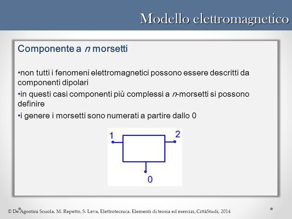 © De Agostini Scuola, M. Repetto, S. Leva, Elettrotecnica. Elementi di teoria ed esercizi, CittàStudi, 2014 Modello elettromagnetico Componente a n mo